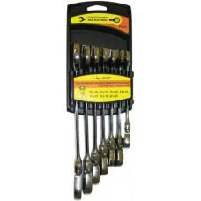 Набор ключей комбинированных с шарниром и трещоткой, 7 штук