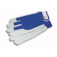 Перчатки хозяйственные кожаные синяя ткань