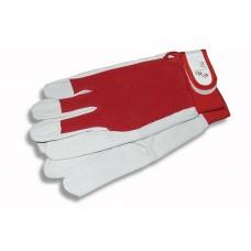 Перчатки садовые кожаные красная ткань